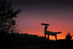 Wooden Horse. Silhouette at the sunset Royalty Free Stock Photography