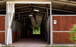wooden horse stable stock photo