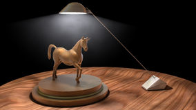Wooden Horse Statue On Desk With Lamp Royalty Free Stock Images
