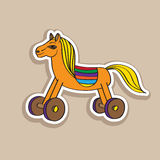 Wooden horse sticker Stock Image