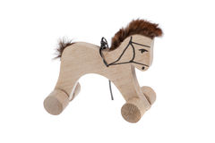 Wooden horse, toy isolated. Into white background royalty free stock photo