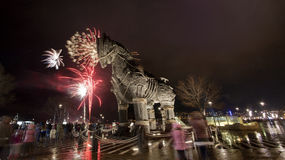 Wooden horse Troy in new years eve Royalty Free Stock Photography