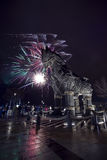 Wooden horse Troy in new years eve Royalty Free Stock Photo