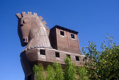 Wooden horse, Troy, Turkey. Replica of the famous wooden horse mentioned by Homer in Iliad Royalty Free Stock Photography