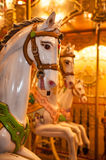Wooden horse on vintage carousel in Paris, France. Old carousel with wooden horse in Paris, France Royalty Free Stock Photos