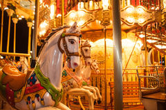 Wooden horse on vintage carousel in Paris, France. Old carousel with wooden horse in Paris, France Stock Photography
