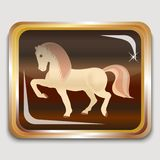 Wooden horse. Year wooden horse on the eastern horoscope. Square icon. Vector illustration Royalty Free Stock Photos