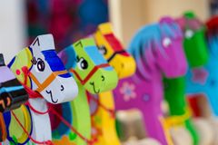 Wooden horses on a market stall Royalty Free Stock Photography