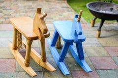 Wooden horses stock photos