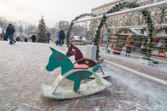 Wooden horses on Pushkin Square. In Moscow Stock Images