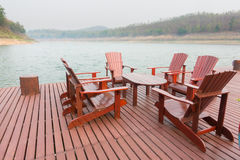 Wooden hotel lounge Stock Image