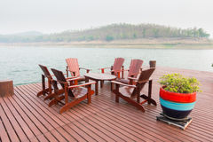 Wooden hotel lounge Royalty Free Stock Images