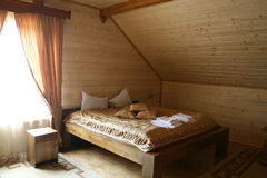 Wooden hotel room Royalty Free Stock Photo