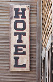 Wooden hotel sign Stock Photography