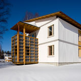 Wooden house. In Finland during the winter Stock Photo