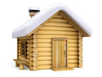 Wooden house. 3d illustration on white background Royalty Free Stock Image