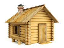 Wooden house. 3d illustration on white background Stock Photos
