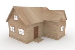 Wooden house. Window is visible. Wooden doors. A simple house. Lodges in nature. 3D illustrations Stock Photo
