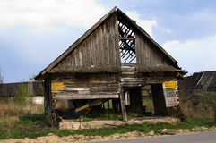 Wooden house. Ruins of the old wooden house. Belarus Stock Photography