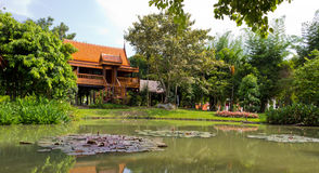 Wooden House. Was built in front Lotus Pond Stock Photos