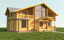 Wooden house. On green grass Stock Photography