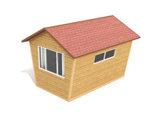 Wooden house 3D illustration Royalty Free Stock Image