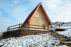 Wooden house. In winter Stock Photo