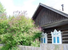 Wooden house. Old wooden house, front view, Russia Royalty Free Stock Photos