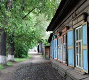 Wooden house. Line of wooden houses, Irkutsk, Russia Royalty Free Stock Photography