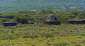 Wooden house in Africa Stock Images
