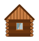 Wooden house architecture design estate old wall with glass window flat vector illustration. Royalty Free Stock Photo