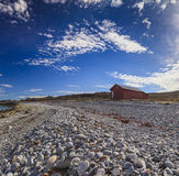 Wooden house in Arctic village Honningsvag Royalty Free Stock Images