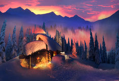 Wooden house as Santa Claus Royalty Free Stock Image