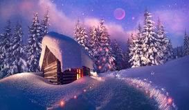 Wooden house as Santa Claus Stock Photos