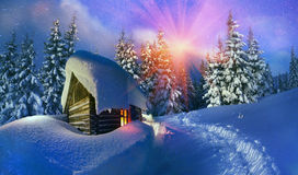 Wooden house as Santa Claus Royalty Free Stock Images