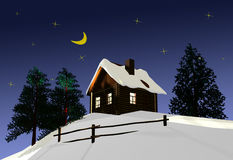 The wooden house on a background of the night sky. 3D image Royalty Free Stock Photography