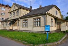 Wooden house in Baranovichi. Belarus. Wooden house in the town of Baranovichi. Belarus stock photo