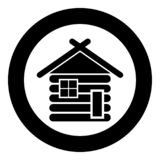 Wooden house Barn with wood Modular log cabins Wood cabin modular homes icon black color vector in circle round illustration flat royalty free illustration