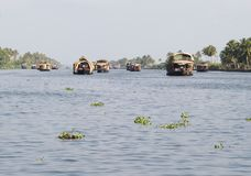 Wooden House boats in Kerala Back waters Stock Photos
