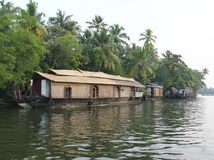 Wooden House boats in Kerala Back waters Stock Photography
