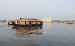 Wooden House boats in Kerala Back waters Stock Image