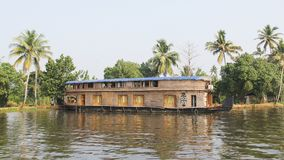 Wooden House boats in Kerala Back waters Stock Photo