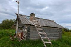 Wooden house on the Bolshoy Zayatsky Island. Solovetsky archipelago, White sea, Russia royalty free stock photography