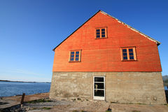 Wooden  house of  Borvoag in Lofoten Royalty Free Stock Images
