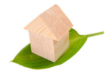 Wooden house of building blocks with green leaf Royalty Free Stock Photography