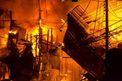 Wooden house burning.fire Royalty Free Stock Photo