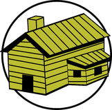Wooden house or cabin with chimney. Vector. Illustration of a wooden cabin or house with chimney. Vector file available in EPS format Stock Photo