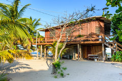 Wooden house on Caribbean beach Royalty Free Stock Image