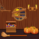 Wooden house cellar, halloween symbols Stock Photo