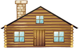 Wooden house with chimney. Illustration Stock Photography